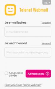 Telenet webmail inlogscherm