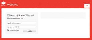 Scarlet webmail inlogscherm