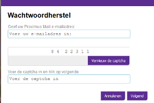 Skynet.be webmail wachtwoord vergeten scherm