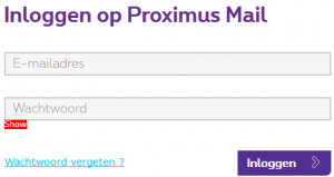Proximus webmail inlogscherm
